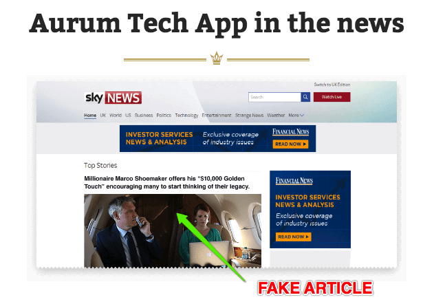 aurumtech fake endorsements 1