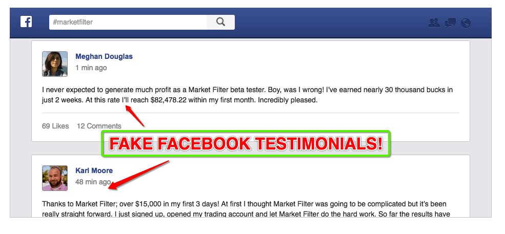 fake testimonials for market filter