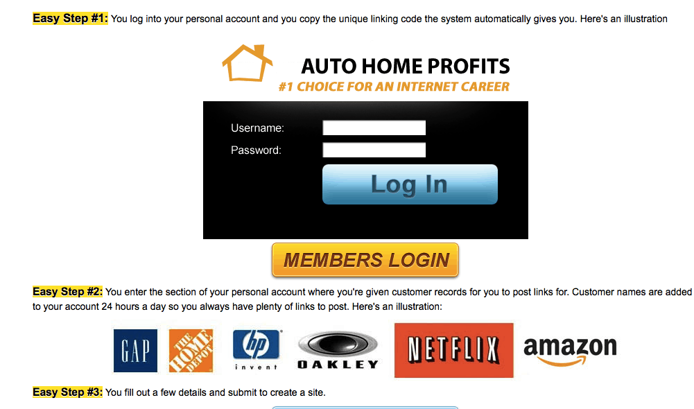 auto home profits scam system