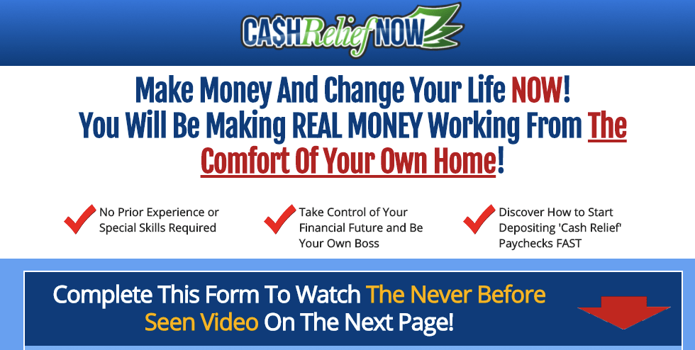 cash relief now scam website