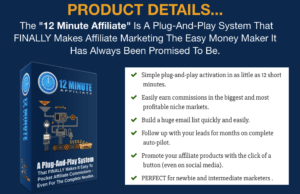 Affiliate Marketing Cost  12 Minute Affiliate System