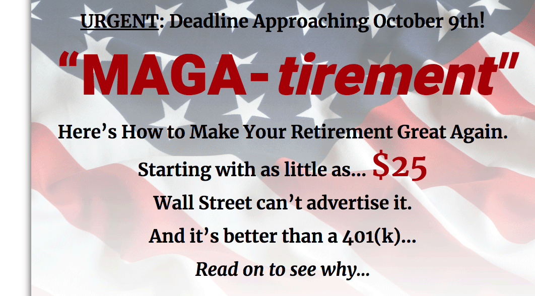MAGA-tirement website