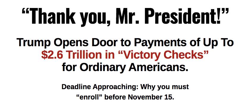 victory checks website