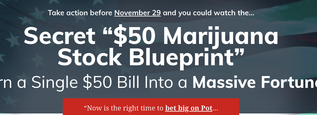 $50 marijuana stock blueprint headline