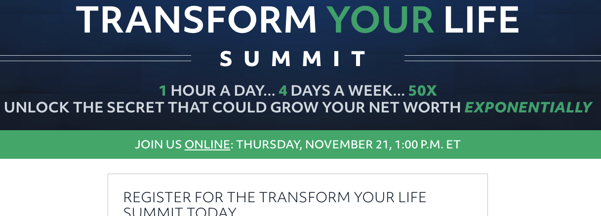 transform your life summit website