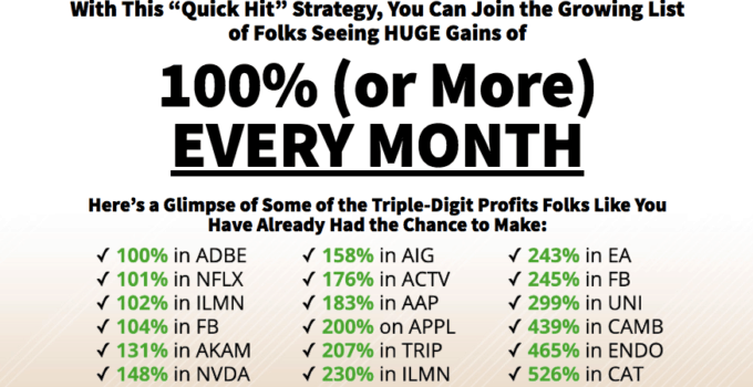 100% or more every month quick hit strategy
