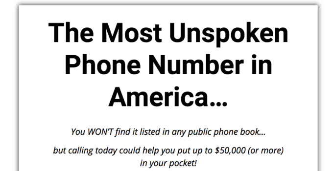 most unspoken phone number in america review