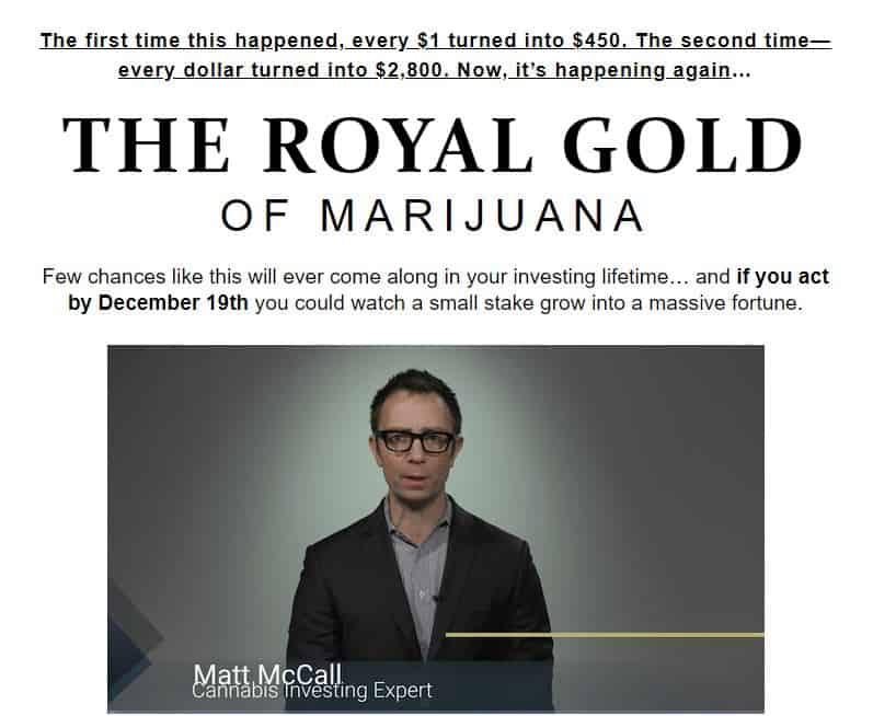 The Royal Gold of Marijuana by Matt McCall