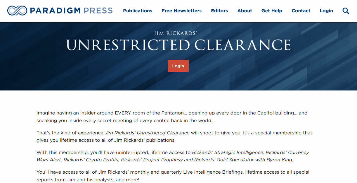 Jim Rickards' Unrestricted Clearance
