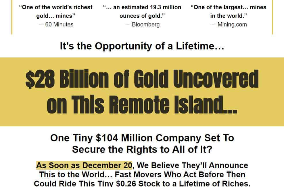 $28 Billion Of Gold Uncovered on This Remote Island by Mike Burnick (Hard Asset Profits)