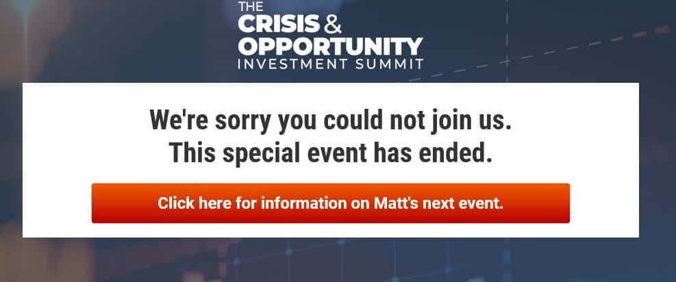The Crisis & Opportunity Investment Summit