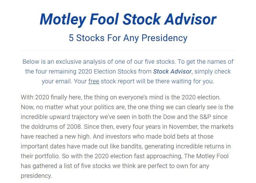 "Motley Fool ""5 Stocks For Any Presidency"
