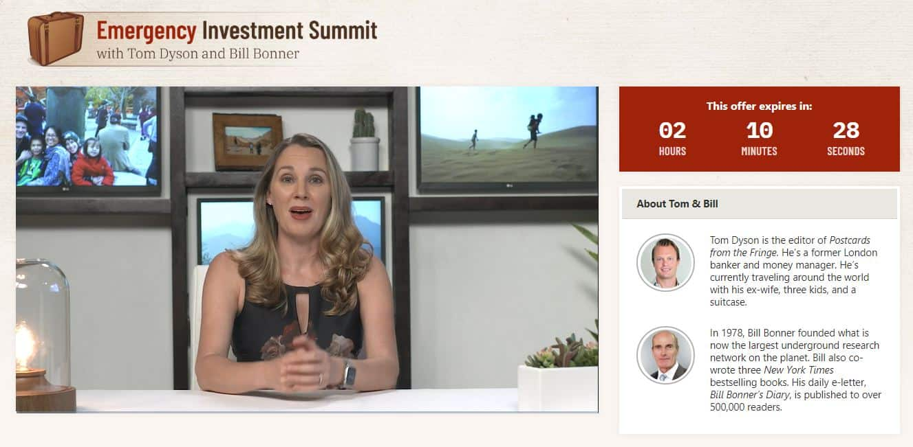 Emergency Investment Summit by Tom Dyson and Bill Bonner
