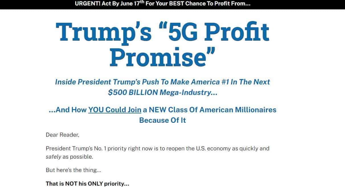 Trump's 5G Profit Promise by Robert Williams
