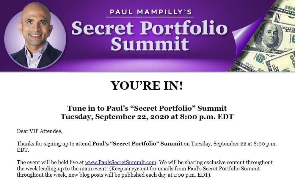 Paul Mampilly's Secret Portfolio Summit