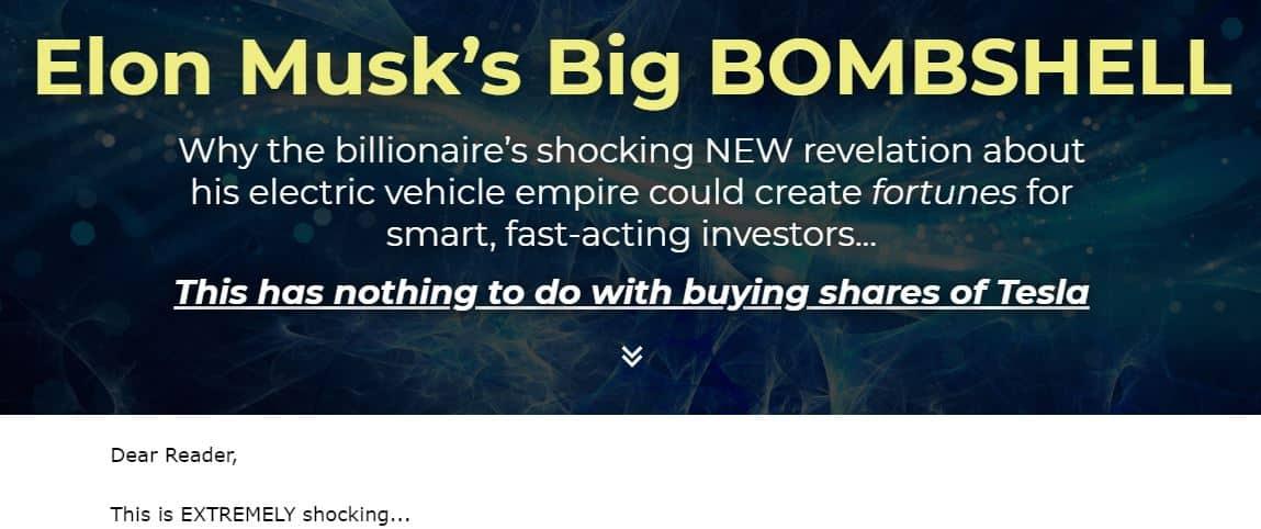 Elon Musk's Big Bombshell