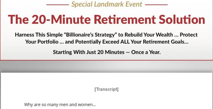20 Minute Retirement Solution