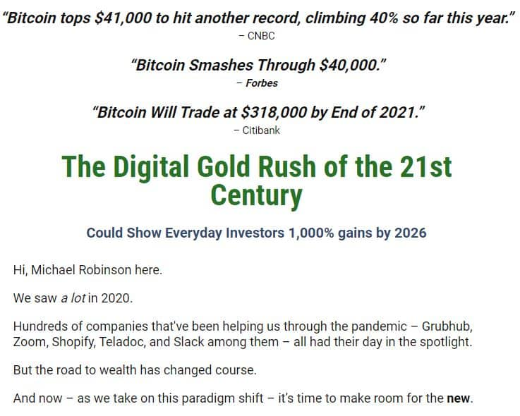 Michael Robinson's Digital Gold Rush